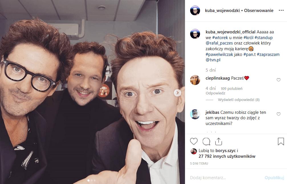 """12 listopada nowy odcinek """"Kuba Wojewódzki show"""". Studio odwiedzą Paweł Wilczak i Rafał Pacześ. Król TVN wrzucił na Instagram zapowiedź - będzie sie działo!"""