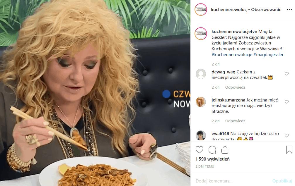 """7 listopada """"Kuchenne rewolucje"""" i Magda Gessler będą w stolicy. Instagram zastanawia się, czy Królowa TVN i jurorka MasterChef sprosta wyjątkowemu wyzwaniu"""