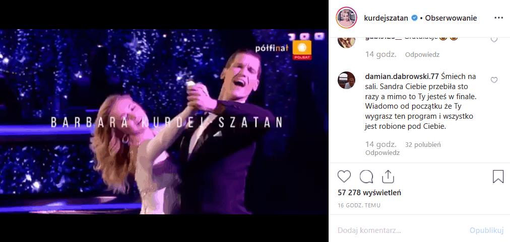 """Barbara Kurdej Szatan i Jacek Jeschke w finale show """"Taniec z gwiazdami"""" (Polsat). Część fanów obserwujacych Instagram gwiazdy """"M jak miłość"""" jest zła."""