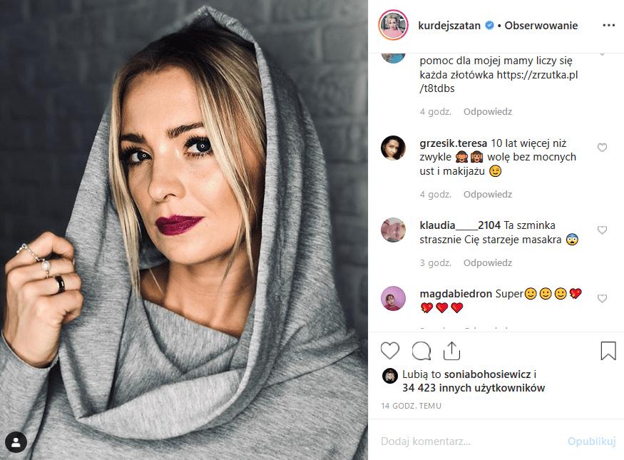 """Na Kurdej Szatan spadła krytyka pod zdjęciem wrzuconym na Instagram. Czym podpadła faon gwiazda """"M jak miłość"""" i show TV Polsat """"Taniec z gwiazdami""""?"""