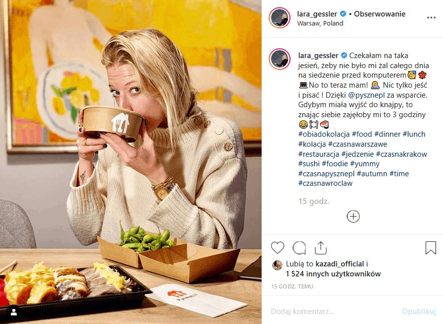 Lara Gessler i Piotr Szeląg nie ma łatwego życia na Insta. Jest twarzą Pyszne.pl, więc fani mówią, że Magda Gessler, Królowa TVN, nie nauczyła jej gotować.