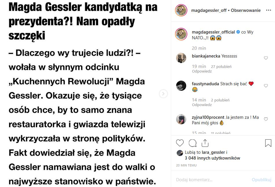 """Magda Gessler i wybory prezydenckie? Instagram jest na tak! Czy Królowa TVN rozważa start? Jakie szanse ma gwiazda show """"MasterChef"""" i Kuchenne rewolucje""""?"""