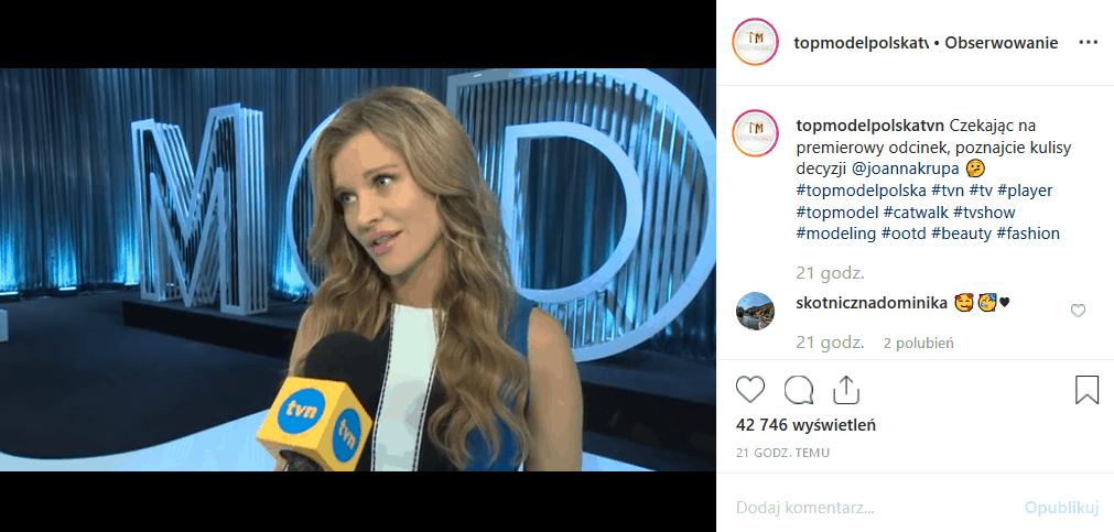 """11 listopada nowy odcinek show """"Top model"""" (TVN). Joanna Krupa i Michał Piróg wysyłają uczestników na Fashion Week. Instagram krytykuje decyzję modelki."""