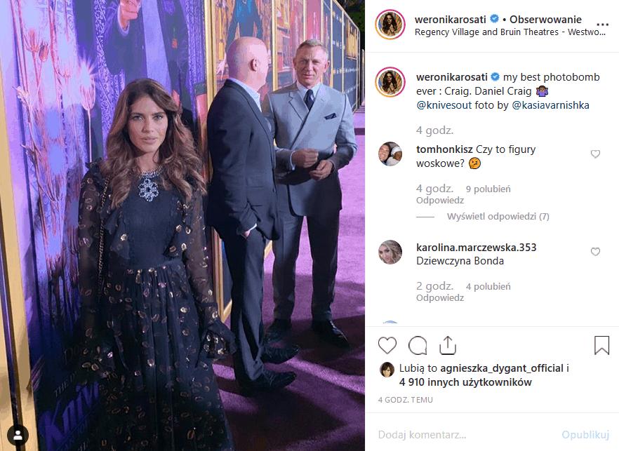 """Bez Rosati żaden serial nie da rady. Ale gwiazda """"Zawsze warto"""" (Polsat) też ma idoli. Gwiazda wrzuciła na Instagram, na którym jest ona i Daniel Craig."""