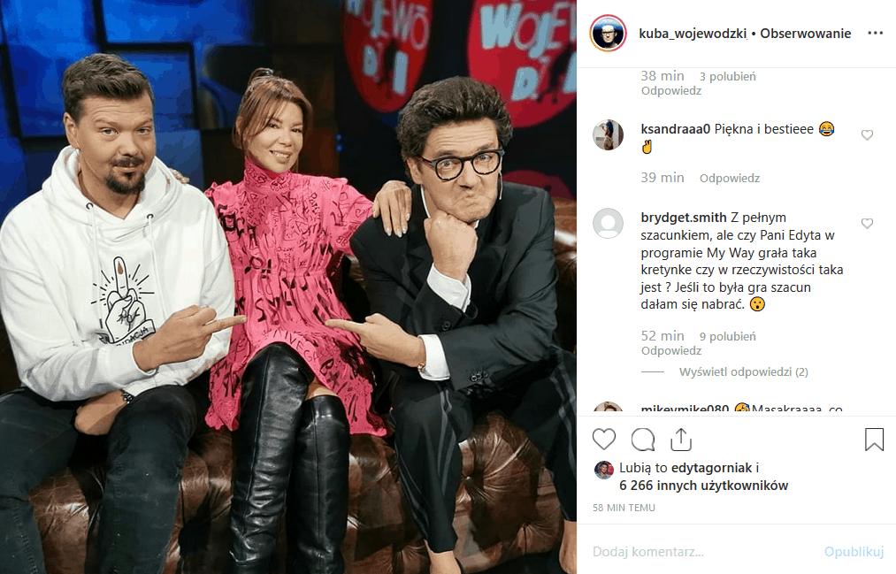 """26 listopada do """"Kuba Wojewódzki show"""" Król TVN zaprosił do siebie 2 gwiazdy, którymi są Edyta Górniak i Michał Figurski. Instagram czeka na starcie gwiazd."""