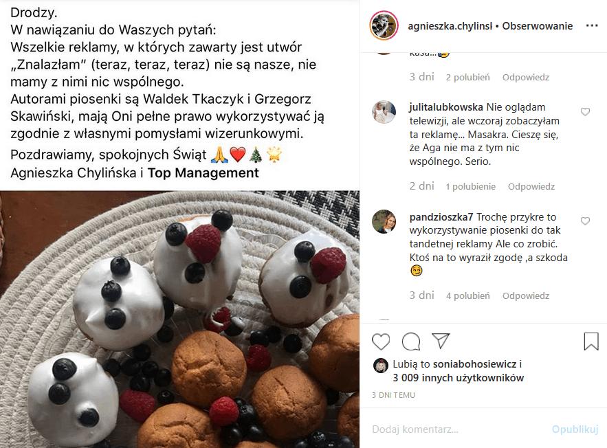 """Agnieszka Chylińska (""""Mam talent"""" TVN) wydała na Insta oświadczenie, bo nie ma nic wspólnego z przeróbką hitu O.N.A., który muzycy Kombi użyli do reklamy"""
