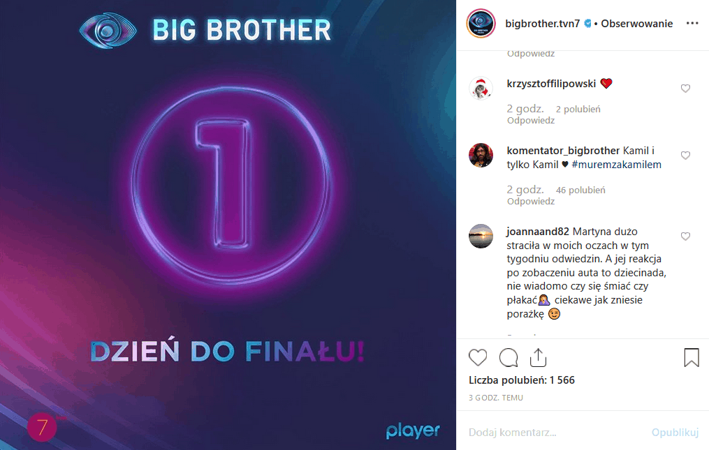 """Jutro finał show """"Big Brother"""" (TVN7). Fani na portalach Facebook i Instagram chcą, by wygrał Kamil Lemieszewski, ale obawiają się ustawienia wyników"""