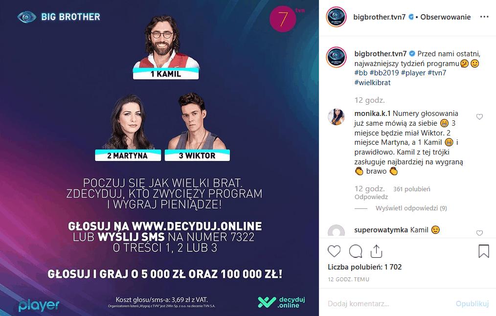9 grudnia zazczyna sie ostatni tydzien w oprogramie Big Brother (TVN7). czy Kamil Lemieszewski wygra finał. Instagram i Facebook stawiają na niego