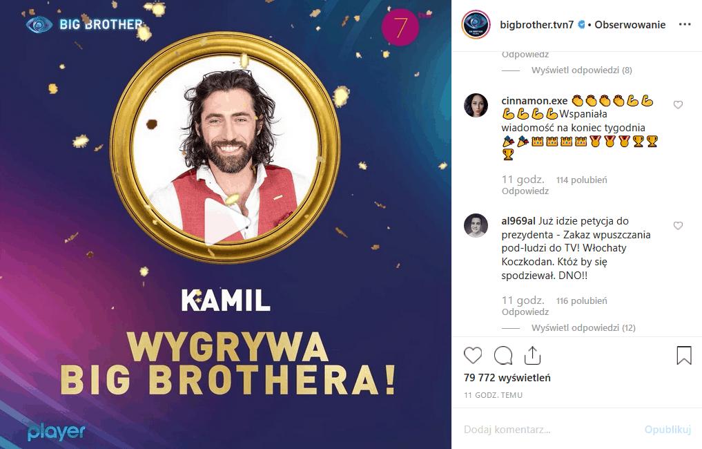 Kamil Lemieszewski wygrywa finał Big Brother (TVN7), ale fani na portalach Facebook i Instagram nie są zaskoczeni, bo był on faworytem od początku.
