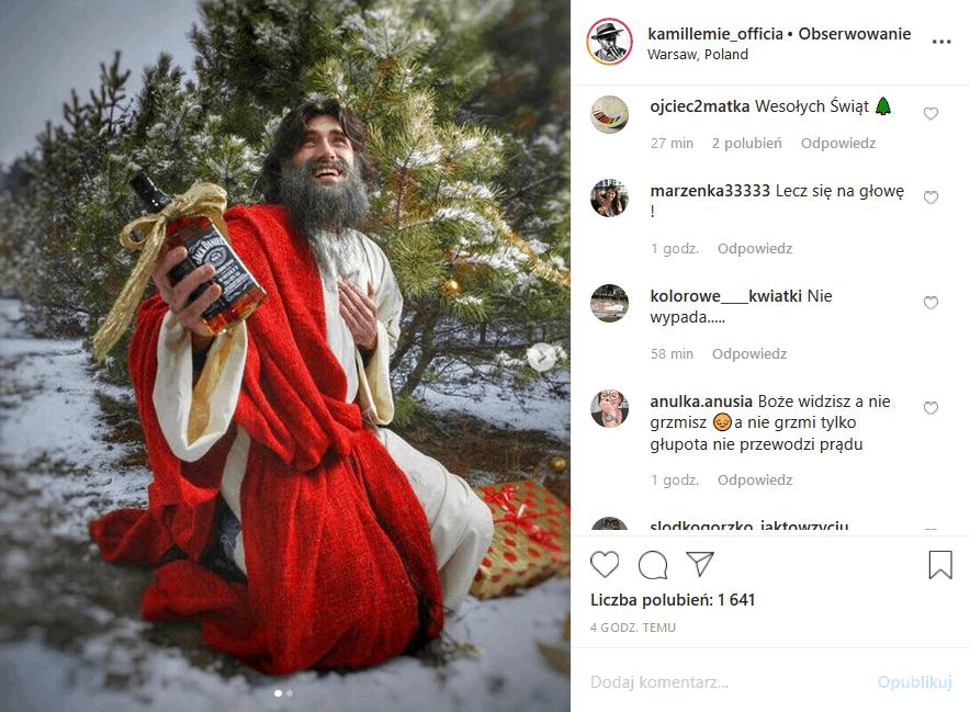 """Kamil """"Lemie"""" Lemieszewski prowokuje na Insta, bo w Boże Narodzenie udaje pijanego Chrystusa. Czy zwycięca show TVN7 """"Big Brother"""" przesadził?"""