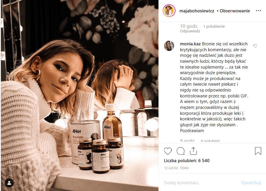 """Maja Bohosiewicz (""""Za marzenia"""", """"Na dobre i na złe"""", Playboy) pochwaliła się na Insta suplementami, jakie robi jej mąż, ale fani są już zmęczeni reklamami."""