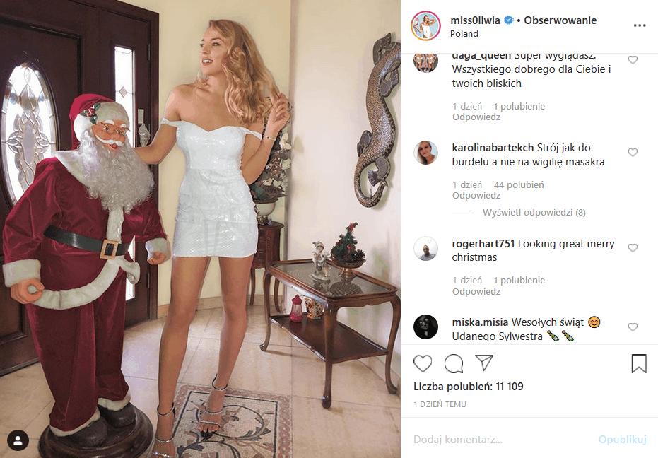 """Oliwia Miśkiewicz (""""Love Island"""", Polsat) zaatakowana na Insta, bo fani nie pochwalają jej stroju na Boże Narodzenie. Czy jej ex (Maciej Szewczyk) ma rację?"""