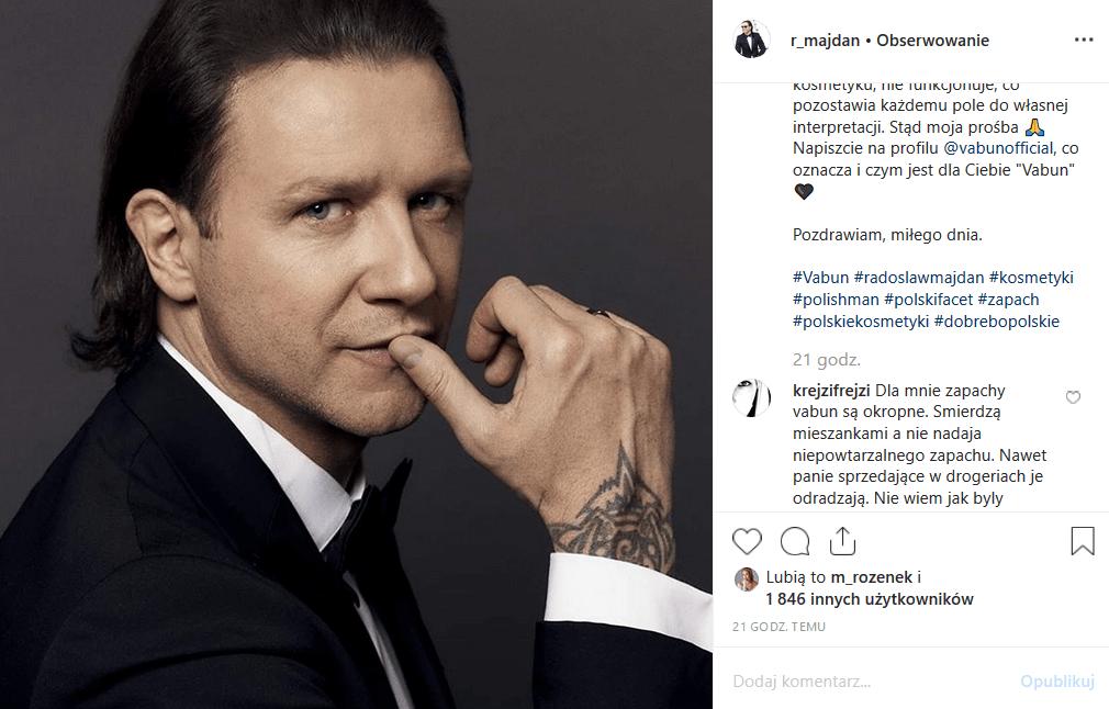 """Radosław Majdan ma własne perfumy, ale Instagram nie jest nimi zachwycony. Mąż Małgosi Rozenek Majdan (""""Iron Majdan"""" TVN) zaatakowany w sieci"""