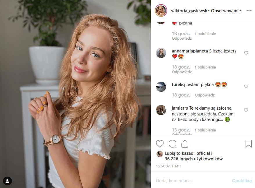 """Wiktoria Gąsiewska (Rodzinka pl"""", """"Barwy szczęścia"""", """"Rodzina zastępcza"""") wrzuca na Insta reklamy. Fani mówią STOP. Czy uda im się powstrzymać gwiazdę TVP2?"""