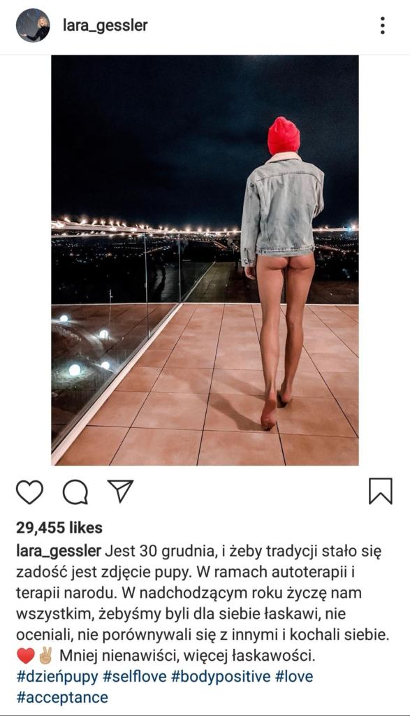 Lara Gessler której matką jest prowadząca Kuchenne Rewolucje Magdalena Gessler pokazała na  swoim profilu Instagram nagie pośladki.To jej nowa tradycja.