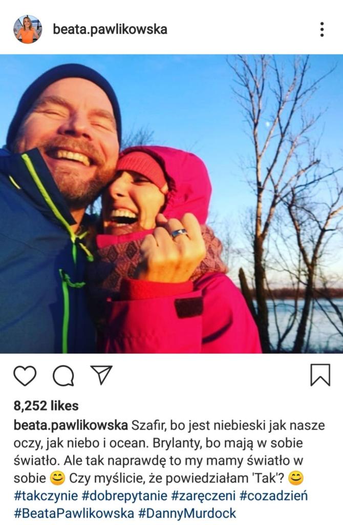 """Pawlikowska znana z audycji w radio zet """"świat według blondynki"""" pokazała na koncie Instagram swoje zaręczyny. Jej narzeczonym jest Danny Murdock."""