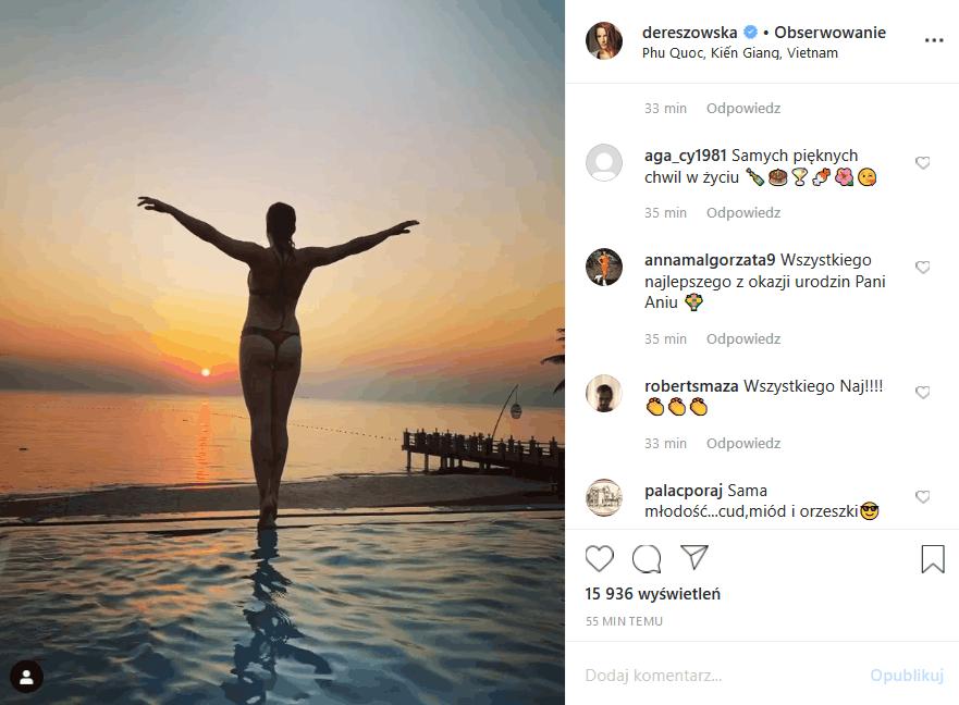 """Anna Dereszowska (""""Barwy szczęścia"""", """"Złotopolscy"""", """"Prawo Agaty"""") obchodzi 39 urodziny, ale nie przejmuje się tym, tylko wrzuca na Insta zdjęcie w bikini"""