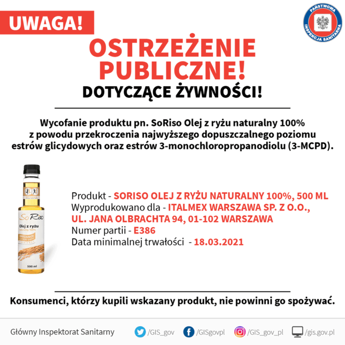 Sanepid wycofuje olej - wykryto w nim szkodliwą substancję, jest niebezpieczny dla zdrowia, szkodzi Główny Inspektor Sanitarny (GiS) potwierdza informację