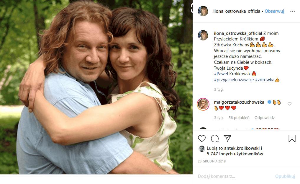 """Paweł Królikowski (""""Ranczo"""" TVP1) jest w szpitalu, bo jego zdrowie jest zagrożone. Ilona Ostrowska opublikowała na Insta wzruszające zdjęcie."""