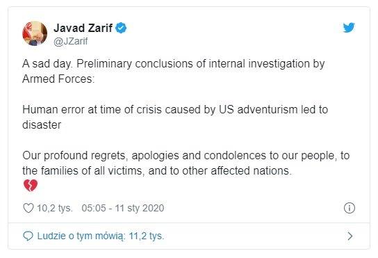 """Sobota: Iran zestrzelił ukraiński samolot. Armia irańska ogłosiła komunikat, w którym zastrzega że nie było to """"intencjonalne"""", zginęło 176 osób"""