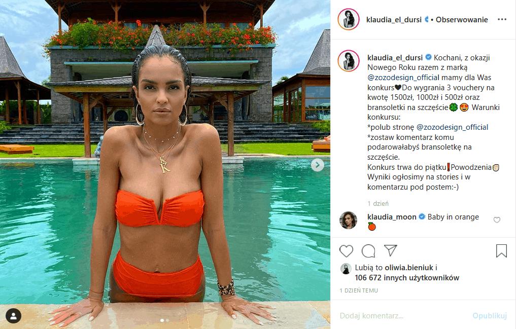 """Klaudia El Dursi (""""Top model"""", TVN) w bikini podbija Instagram. Była modelka magazynu Playboy pokazuje ciało licząc, że będzie to początek jej kariery"""