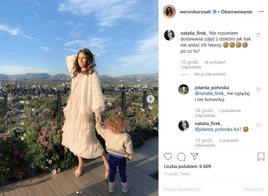 """Weronika Rosati pokazuje swe dziecko na Insta z zasłoniętą buzią. Część fanów gwiazdy seriali """"M jak miłość"""" i """"Zawsze warto"""" (Polsat) nie rozumie tego"""
