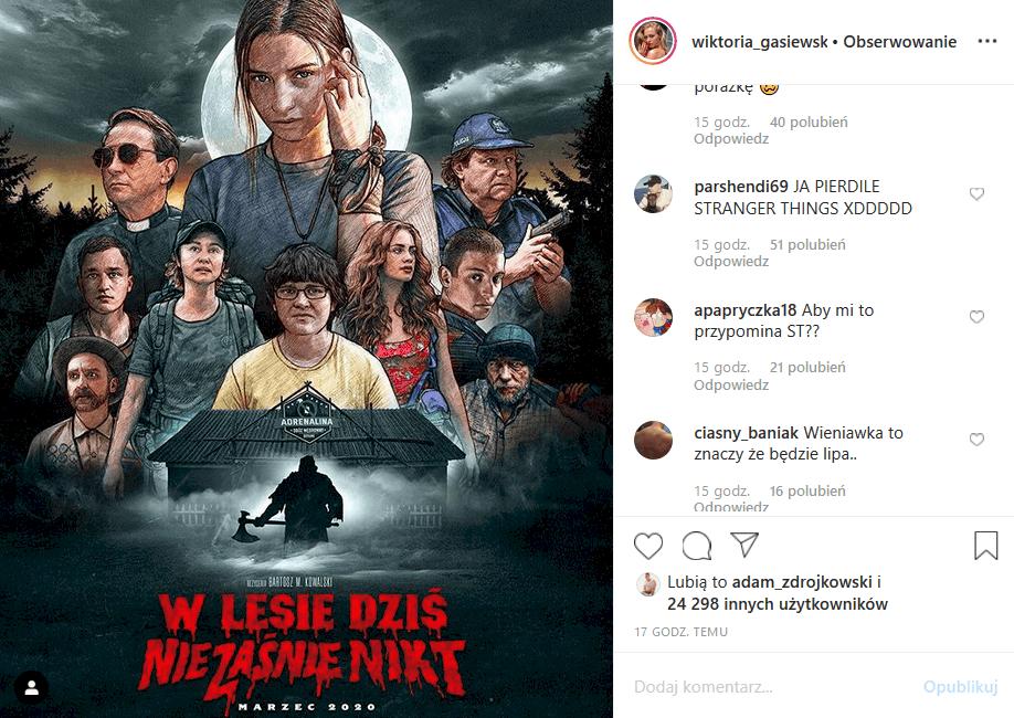 """Wieniawa i Gąsiewska (""""Rodzinka pl"""" TVP2) zagrały razem w horrorze """"W lesie dziś nie zaśnie nikt"""". Fani skrytykowali na Insta plakat filmu oraz talent Julki"""