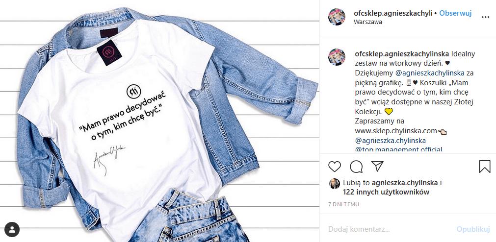 """Agnieszka Chylińska (""""Mam talent"""") sprzedaje koszulki, ale przyrafiła jej się wpadka, bo koszulki Chylińskiej są z błędami!"""