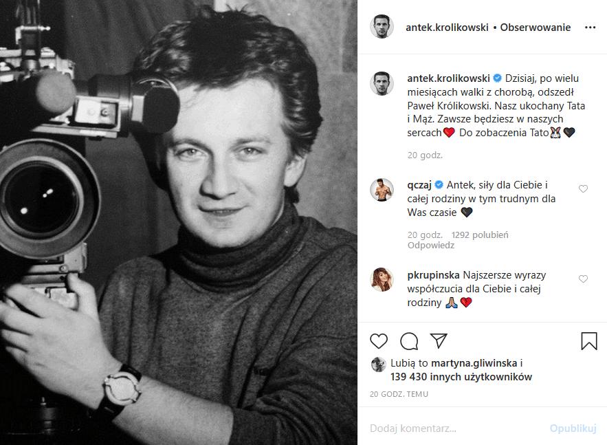 Paweł Królikowski nie żyje, a syn Królikowskiego, Antek, pożegnał ojca we wzruszający sposób, bo wrzucił na Instagram nieznane dotąd zdjęcie aktora.