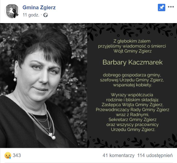 Ta śmierć wstrząsnęła Polską, Barbara Kaczmarek wójt gminy Zgierz nie żyje, została zamordowana, prawdopodobnym sprawcą jest jej syn