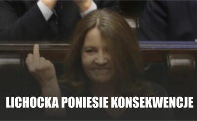 Posłanka Lichocka z PiS za swój gest ,środkowy palec jaki pokazała w Sejmie, poniesie konsekwencje. Tak głoszą najnowsze wieści z Nowogrodzkiej