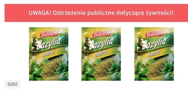 """Gis ostrzega: w bazylii może znajdować się salmonella powodująca ostre zatrucie pokarmowe, bakterię wykryto w produkcie Bolinero """"Bazylia otarta"""""""