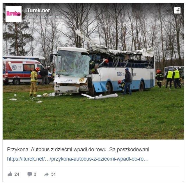 Wypadek szkolnego autobusu w Wielkopolsce, w powiecie tureckim. Wiemy o pieciu poszkodowanych, ranne zostały dzieci. Na miejscu pracują służby
