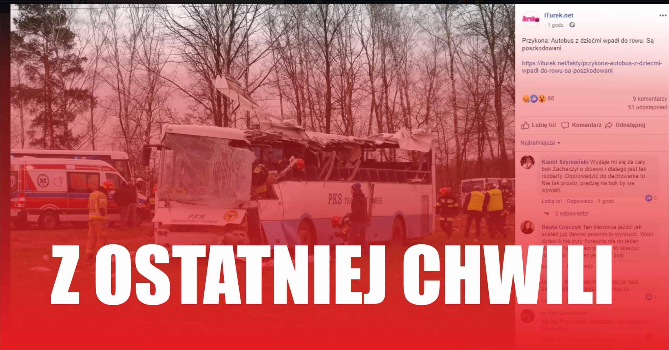 Wypadek szkolnego autobusu w Wielkopolsce, w powiecie tureckim. Wiemy o pieciu poszkodowanych, ranne zostały dzieci. Na miejscu pracuja służby