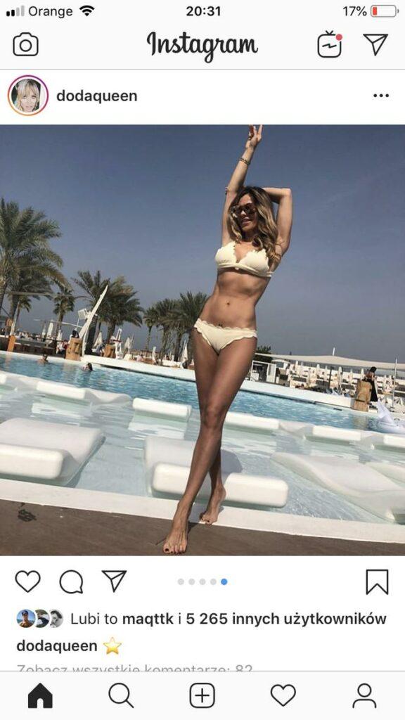 Każde zdjęcie Dody wciąż robi furorę na Insta, fanów zachwyca jej figura, kobietom imponuje to ile Doda waży, zastanawiają się też się jaka jest jej dieta