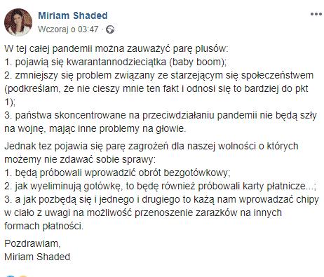 Koronawirus w Polsce. Miriam Shaded na swoim koncie Facebook umieściła wpis mówiący o koronawirusie, zaletach epidemii i starzejącym się społeczeństwie