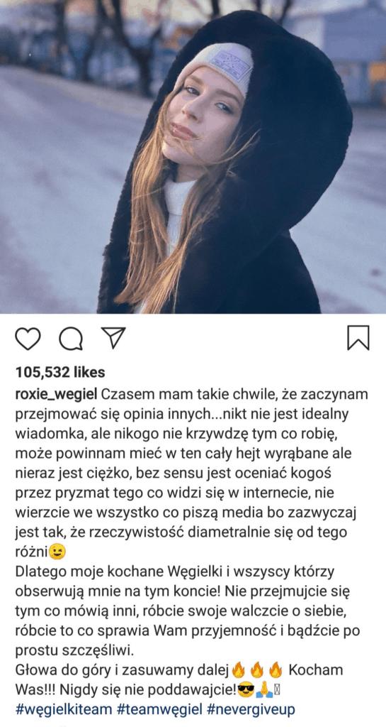 Roksana Węgiel znana z konkursu Eurowizja Junior i The Voice Kids odpowiedziała na hejt na swoim koncie Instagram, komentarze wywołały problemy