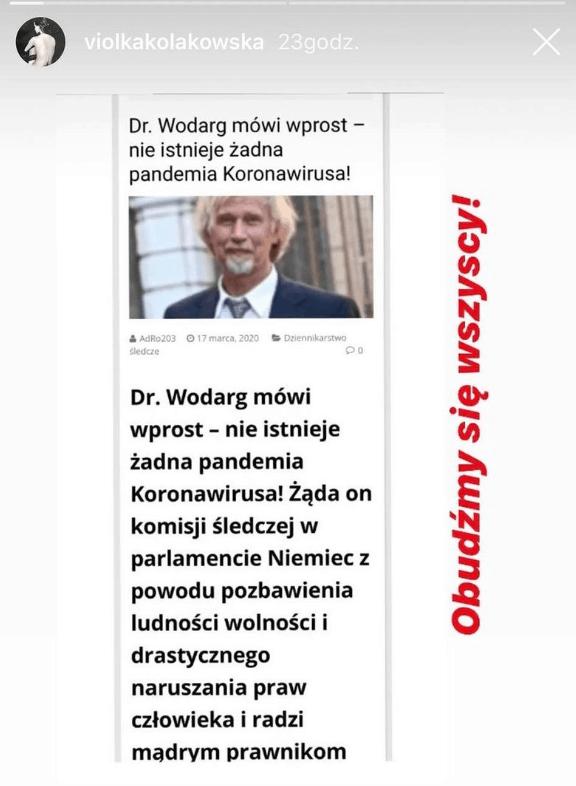Viola Kołakowska zwariowała, wypowiedziała się o koronawirusie i pandemii, gwiazda uważa, że one nie istnieją, swoje teorie spiskowe publikuje na Instagram.