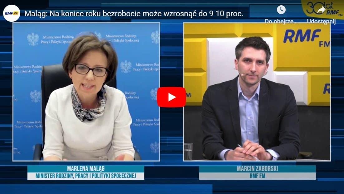 """Minister rodziny, pracy i polityki społecznej Marlena Maląg była gościem w """"Popołudniowej Rozmowie"""" RMF FM, gdzie prowadzącym był Marcin Zaborski."""
