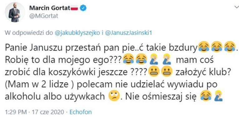 Marcin Gortat w serwisie Twitter uderza w Stelmet, prezes Jasiński mu odpowiada, były zawodnik NBA ripostuje, ale następnie... usuwa post.