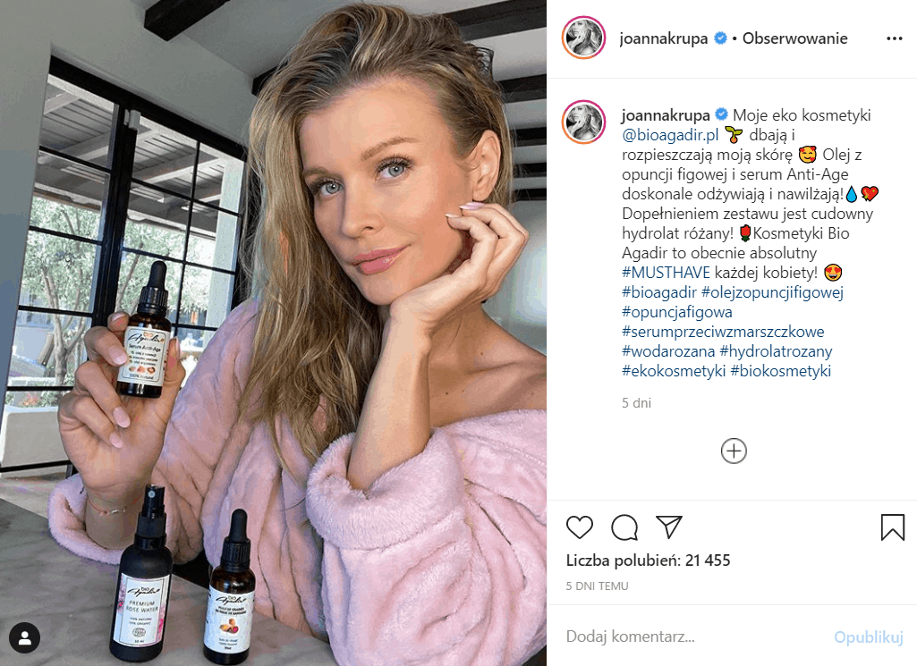 Ogromne zarobki gwiazd jakimi mogą się pochwalić w serwisie Instagram, przyprawiają o zawrót głowy, Joanna Krupa nie jest tu wyjątkiem, ile zarabia?