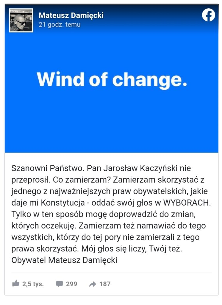Mateusz Damięcki (Na dobre i na złe, W rytmie serca) zaatakował niedawno prezesa PiS (Jarosław Kaczyński). Wpis aktora wywołał prawdziwą burzę w sieci