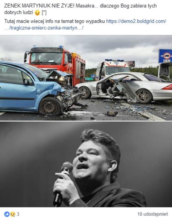 Szokujący post pojawił się w serwisie Facebook, artykuł podawał, że lider zespołu Akcent, Zenek Martyniuk nie żyje, jest to oczywiście nieprawda.