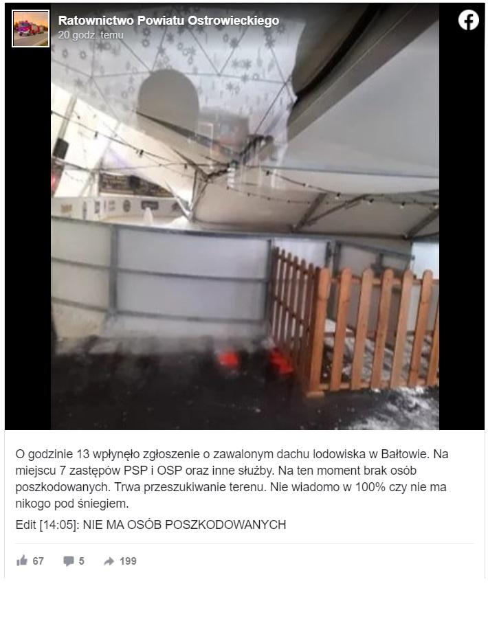Zawalił się dach lodowiska w Bałtowie, przyczyną był zalegający śnieg. Na szczęście nikt nie ucierpiał. Zdjęcia przyprawiają o dreszcze