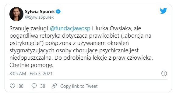 Jurek Owsiak zaatakowany przez skrajnie lewicową poseł, Sylwia Spurek postanowiła udzielić ostrej reprymendy twórcy WOŚP