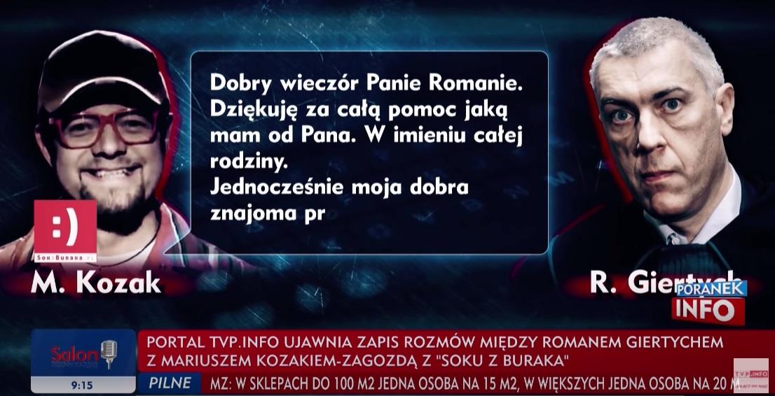 """TVP Info ujawnia rozmowy Romana Giertycha z """"Sokiem z Buraka"""", okazuje się , że polityk miał spory wkład w jedną z propagandowych akcji"""