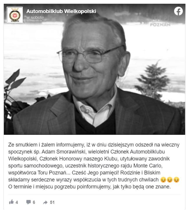 Adam Smorawiński nie żyje, rajdowy mistrz Polski i uczestnik słynnych rajdów Monte Carlo, kierowca rajdowy zmarł w wieku 93 lat