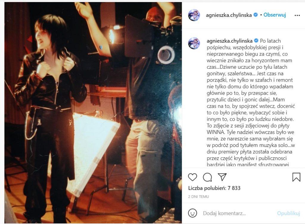 Agnieszka Chylińska w emocjonujących wpisach na Instagramie postanowiła rozliczyć się z przeszłością w tym z zespołem O.N.A