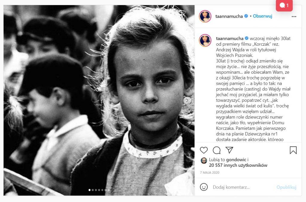 """Anna Mucha wrzuciła na Instagram jedno zdjęcie, pokazało jak wyglądał początek jej kariery, zagrała jako dziecko w filmie """"Korczak"""", było to 30 lat temu... Screen/ YouTube"""