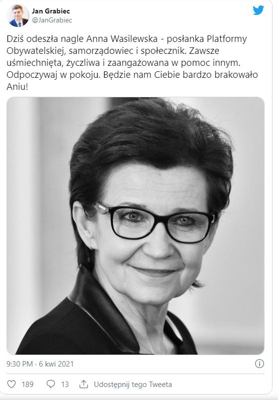 Nie żyje Anna Wasilewska, posłanka PO, o jej śmierci poinformował lider ugrupowania Borys Budka. Określano ją jako skromną i bardzo pracowitą.